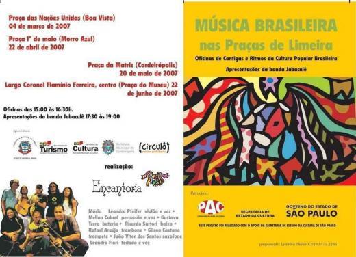 """Cartaz do projeto """"Música Brasileira nas Praças de Limeira"""""""