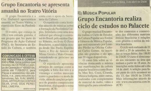 Reportagens sobre projetos e apresentações na cidade de Limeira